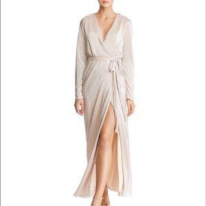 🆕NWT rose gold metallic wrap maxi dress